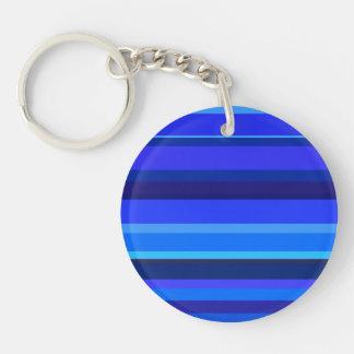 Blaue horizontale Streifen Schlüsselanhänger