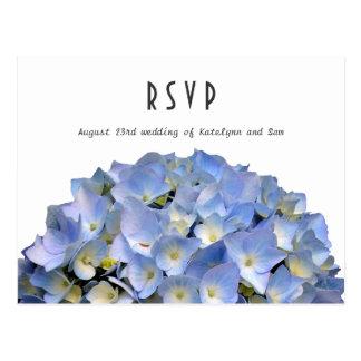 Blaue Hydrangea-Hochzeits-Menü UAWG Postkarte