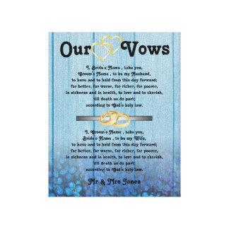Blaue Hydrangea-Hochzeits-Versprechen auf Leinwand Galerie Gefaltete Leinwand