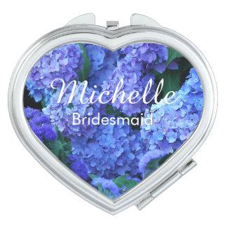 Blaue Hydrangeas-Brautjungfer kundengerecht Taschenspiegel
