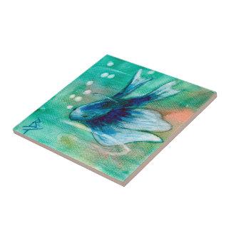 Blaue Inky Betta Fische Kleine Quadratische Fliese
