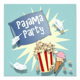 Blaue Jungensleepover-Pyjama-Party Einladung