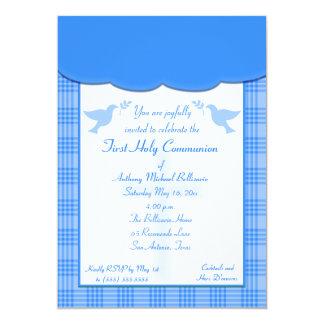 Blaue karierte erste heilige Kommunions-Einladung 12,7 X 17,8 Cm Einladungskarte