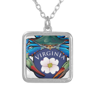 Blaue Krabben-Virginia-Hartriegel-Blüten-Wappen Versilberte Kette