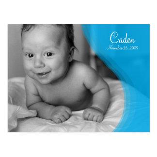 Blaue Kräuselungs-Foto-Geburts-Mitteilung Postkarte