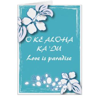 Blaue Leidenschafts-Blumen-Hawaii-Hochzeit Karte