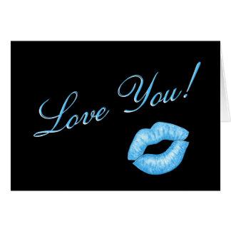 Blaue Lippenstift-Kuss-Anmerkungs-Karte Karte