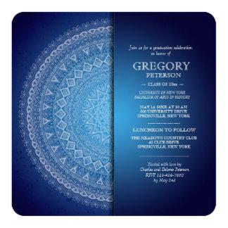 Blaue Mandala-Mitternachtseinladung Quadratische 13,3 Cm Einladungskarte