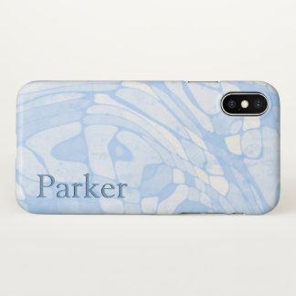 Blaue Marmornamensschablone iPhone X Hülle