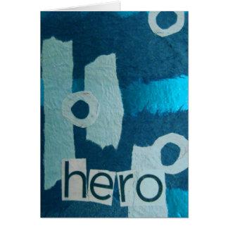 Blaue Mediencollage des Heldes Karte