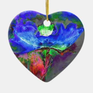 Blaue Mohnblume Keramik Herz-Ornament