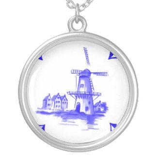 Blaue niederländische Fliese Halskette Mit Rundem Anhänger