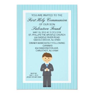 Blaue niedliche erste Kommunions-Jungen-Einladung 12,7 X 17,8 Cm Einladungskarte