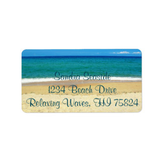 Blaue Ozean-Wellen und Adressaufkleber