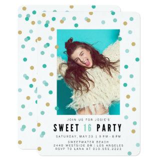 Blaue Party Einladung des Confetti-Foto-Bonbon-16