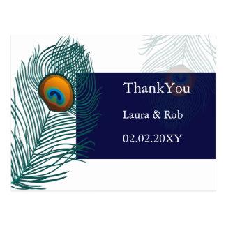 blaue Pfauhochzeit danken Ihnen Postkarte