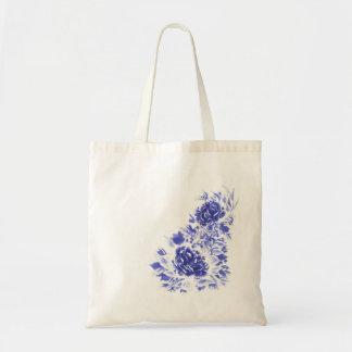 Blaue Pfingstrosen-Budget-Taschen-Tasche Tragetasche