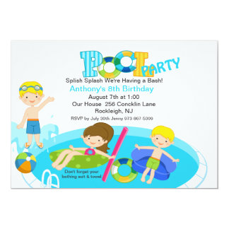 Blaue Pool-Party-Geburtstags-Einladung 12,7 X 17,8 Cm Einladungskarte