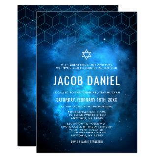 Blaue Raum-Galaxie-Bar Mitzvah Einladungen