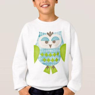 Blaue Rauten-Eule Sweatshirt