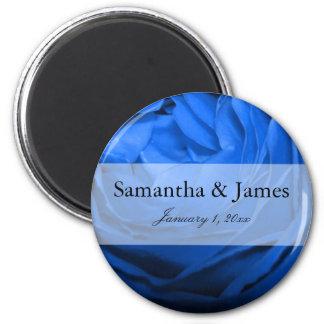 Blaue Rosen-persönliche Hochzeit Runder Magnet 5,7 Cm