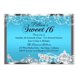 Blaue Schein-Prinzessin Theme Sweet 16 laden ein 12,7 X 17,8 Cm Einladungskarte