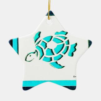 Blaue Schildkröte Keramik Stern-Ornament