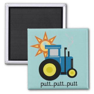 Blaue Schlag-Schlag-Traktor-T-Shirts und Geschenke Quadratischer Magnet