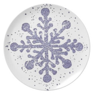 Blaue Schneeflocke-Melamin-Platte Teller
