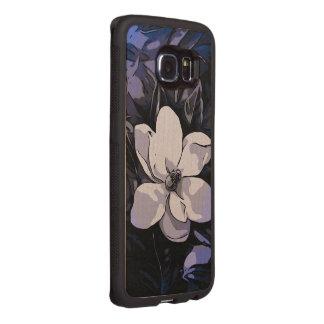 Blaue Schwarz-weiße abstrakte Blume Handyhülle Aus Holz