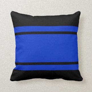 Blaue schwarzes Rennen-Streifen addieren Kissen