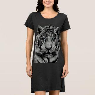 Blaue Schwarzweiss-Augen des Tigers Kleid
