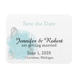 Blaue Seashell-Strand-Hochzeit Save the Date Rechteckiger Fotomagnet