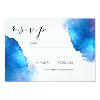 Blaue Spritzen-Aquarell-Hochzeit Karte
