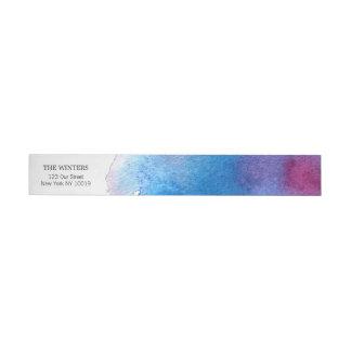 Blaue Spritzen-Aquarell-Hochzeit Rundum-Adressaufkleber