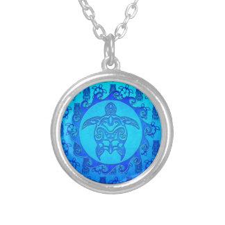 Blaue Stammes- Schildkröte Sun Halskette Mit Rundem Anhänger