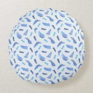 Blaue Stellen bürsteten Polyester-rundes Rundes Kissen