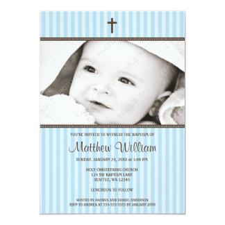 Blaue Streifen und Brownquerjungen-Foto-Taufe 12,7 X 17,8 Cm Einladungskarte