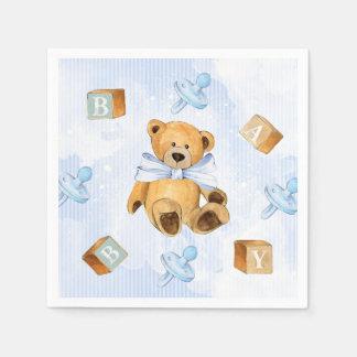 Blaue Streifen und Teddybär-Babyparty Serviette