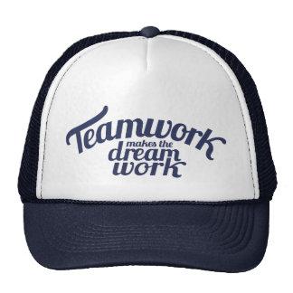 Blaue Teamwork stellt den Traumarbeitssloganhut Baseballkappe