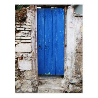 BLAUE TÜR alte Stadt von Chania, Kreta Postkarte
