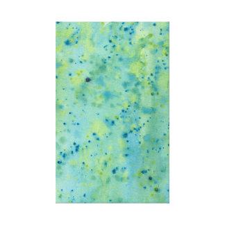 Blaue u. grüne Wasserfarbe platsch Leinwanddruck