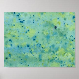 Blaue u. grüne Wasserfarbe platsch Poster
