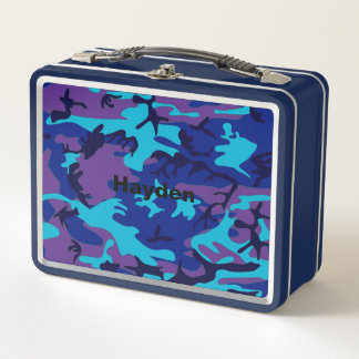 Blaue u. lila Tarnung addieren Metall Brotdose