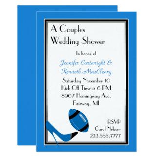 Blaue u. schwarze Fußball-Polterabend-Einladung 12,7 X 17,8 Cm Einladungskarte