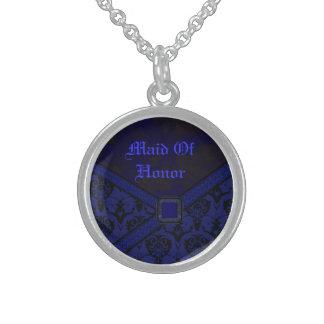 Blaue u. schwarze Goth Spitze-Hochzeit Sterling Silberkette
