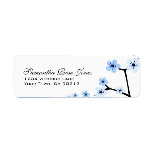 Blaue u. weiße Kirschblüten-Blumen-kundenspezifisc Rücksende Aufkleber