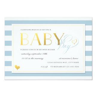 Blaue u. weiße Streifen-Baby-Duschen-Goldakzente 12,7 X 17,8 Cm Einladungskarte