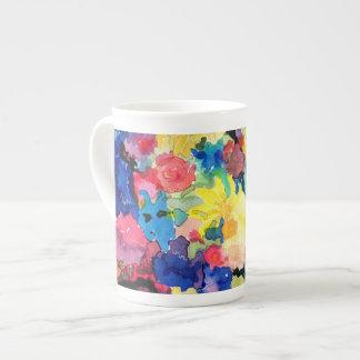 Blaue und gelbe BlumenTasse Porzellantassen