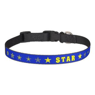 Blaue und gelbe Sterne des STERNES Haustierhalsband
